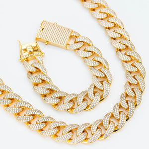Premium Iced 18mm Cuban Chain & Bracelet Set - (3 Color Options)