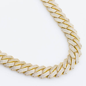 Premium Iced 18mm Straight Edge Cuban Chain - (Gold/White Gold)