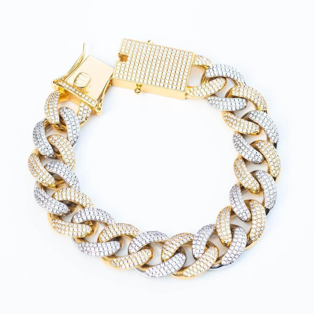Premium Iced 18mm Two-Tone 1x1 Cuban Bracelet - (Gold/Rose Gold)
