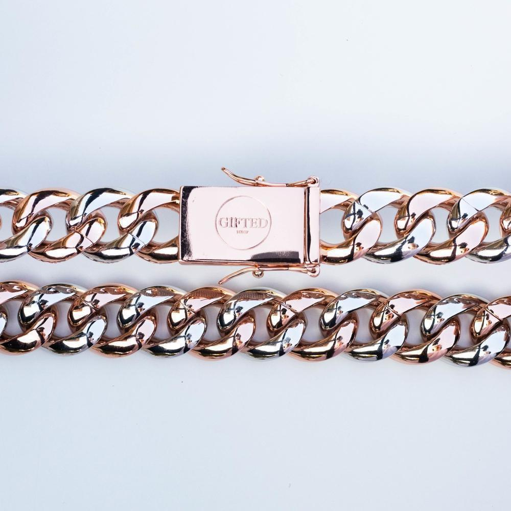 Premium Iced 18mm Two-Tone 1x1 Cuban Chain - (Gold/Rose Gold) *SALE*