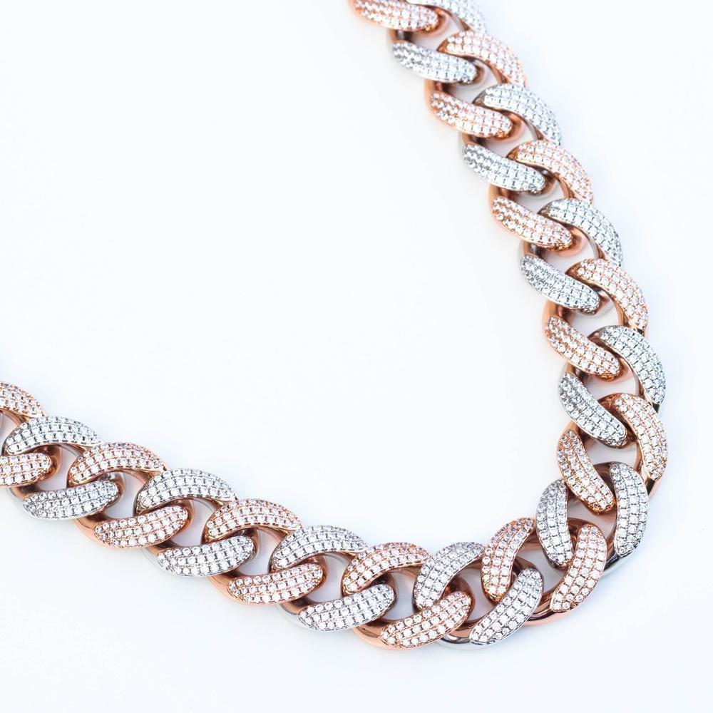 Premium Iced 18mm Two-Tone 1x1 Cuban Chain - (Gold/Rose Gold)