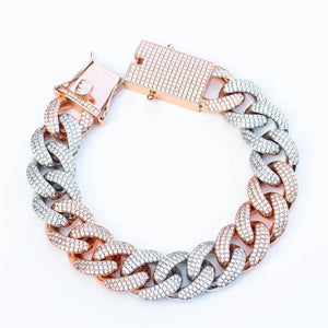 Premium Iced 18mm Two-Tone 3x3 Cuban Bracelet - (Gold/Rose Gold)