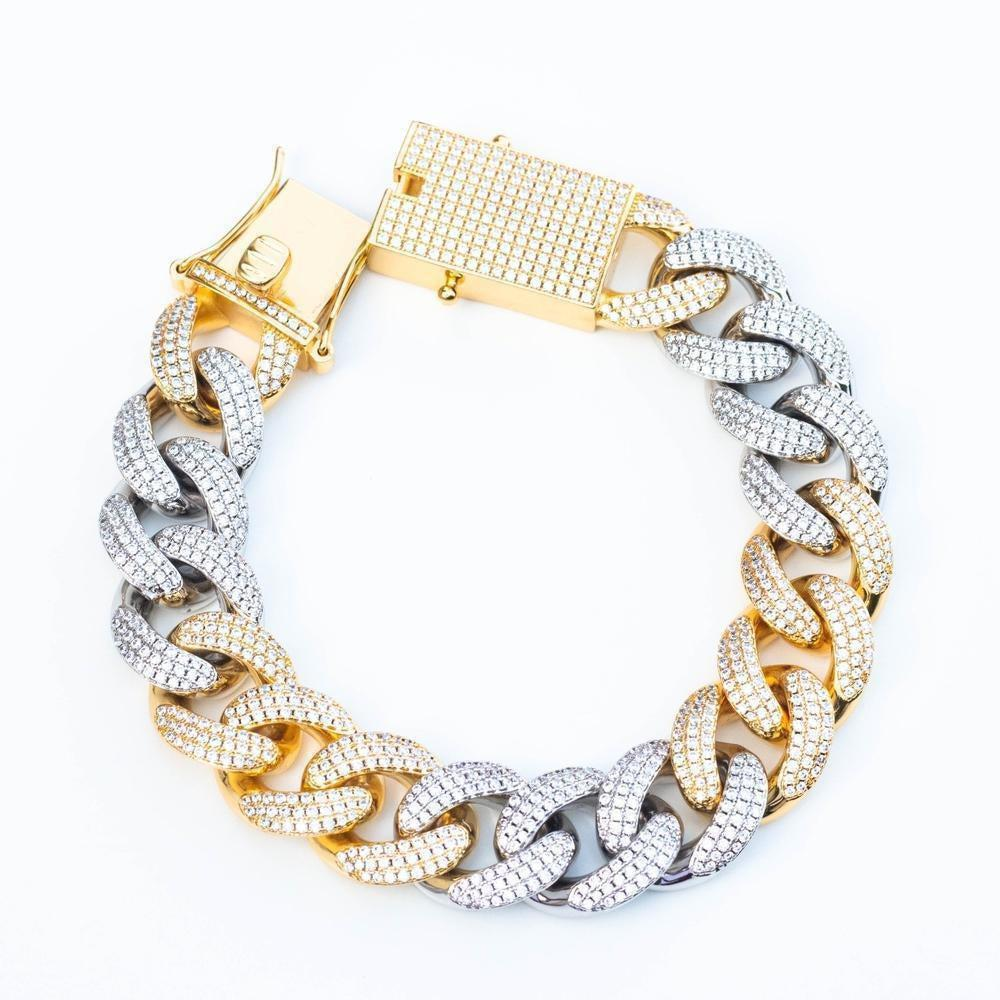 Premium Iced 18mm Two-Tone 3x3 Cuban Bracelet - (Gold/Rose Gold) *SALE*