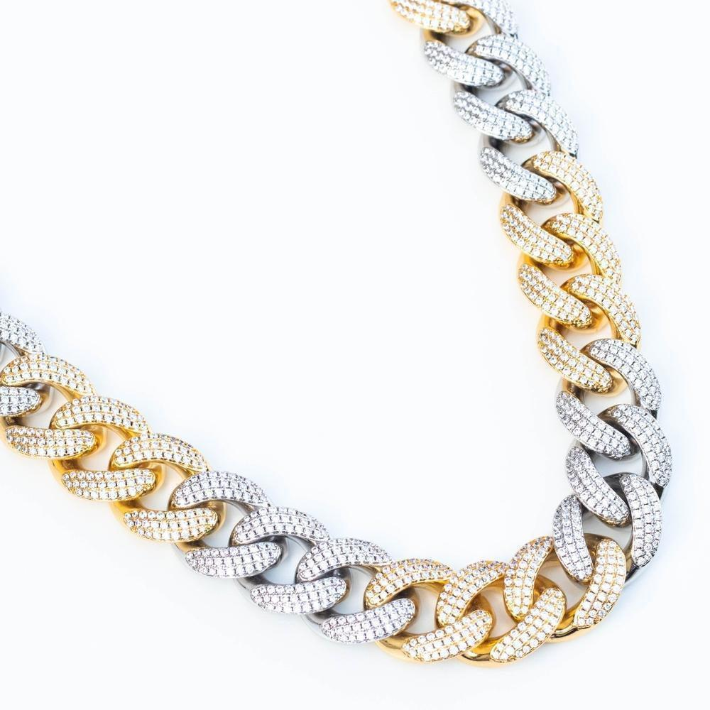 Premium Iced 18mm Two-Tone 3x3 Cuban Chain - (Gold/Rose Gold)