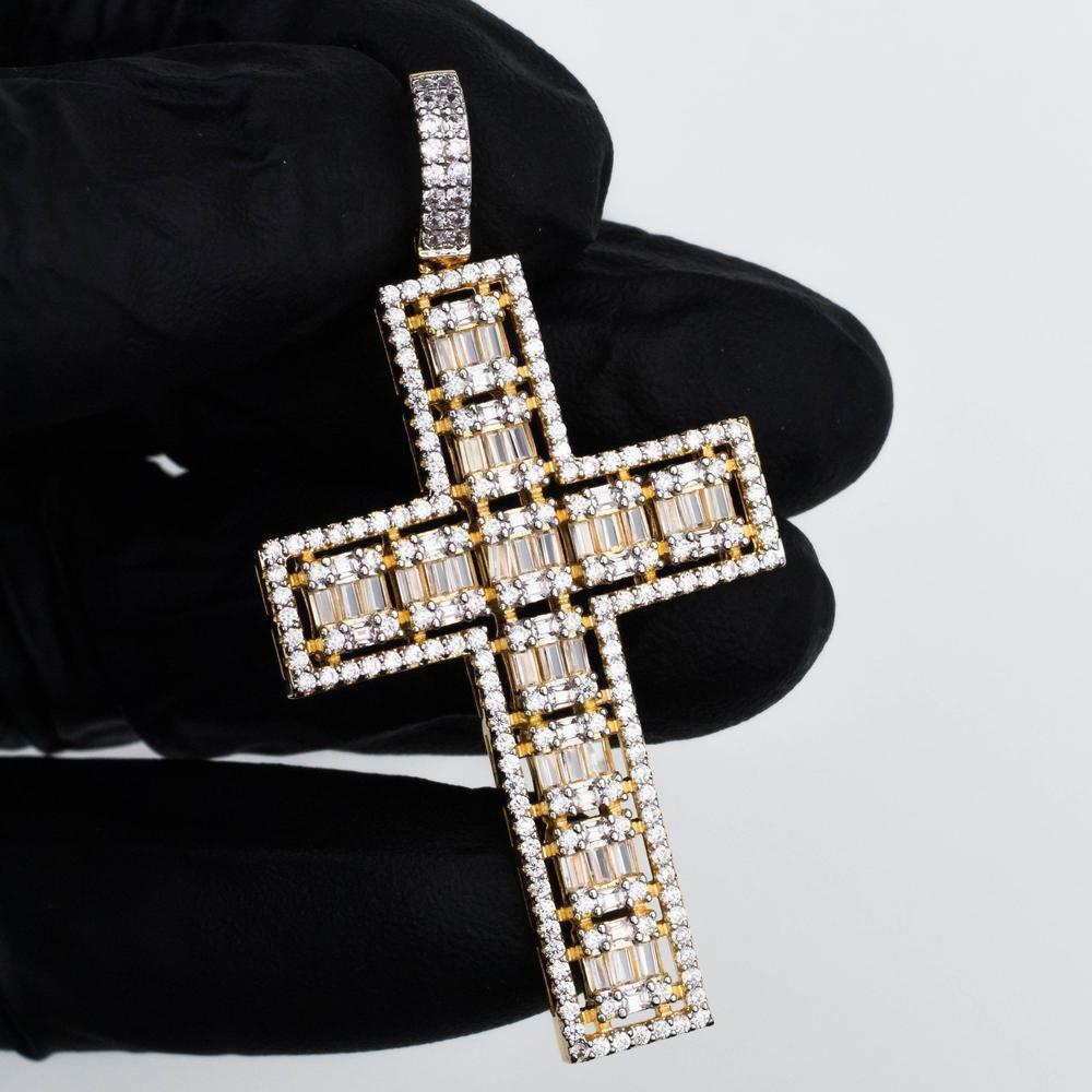 Premium Iced Baguette & Round Cut Cross - *SALE*