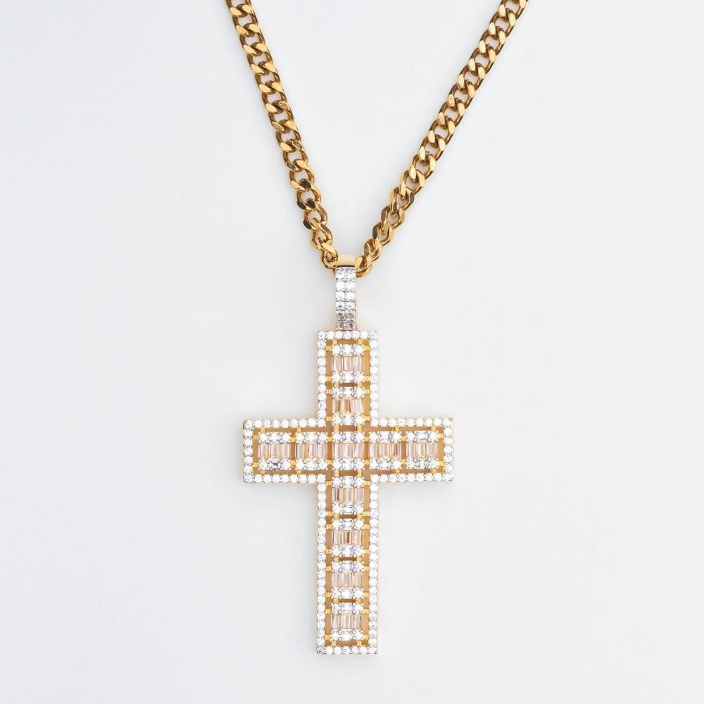 Premium Iced Baguette & Round Cut Cross - (Gold/White Gold)