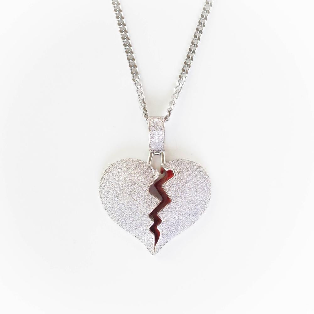 Premium Iced Broken Heart - (Gold/White Gold/Two-Tone)