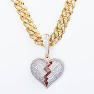 Premium Iced Cuban Bail Broken Heart - (Gold/White Gold/Two-Tone)