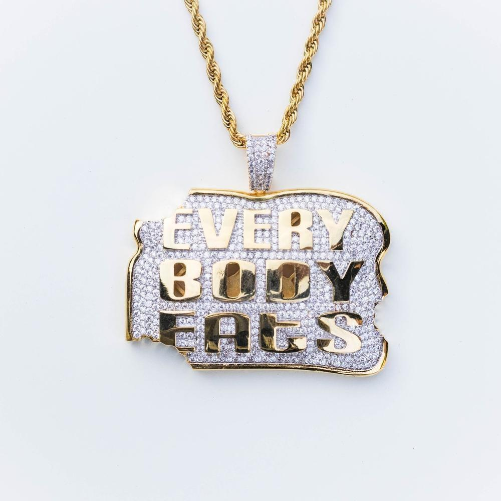 Premium Iced Everyone Eats Pendant - (Gold)