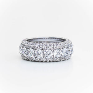 Premium Iced Layered Ring - (Gold/White Gold)