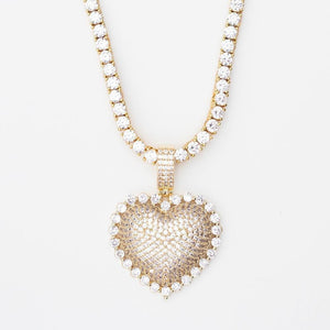 Premium Iced Solitaire Heart - (3 Color Options) *SALE*