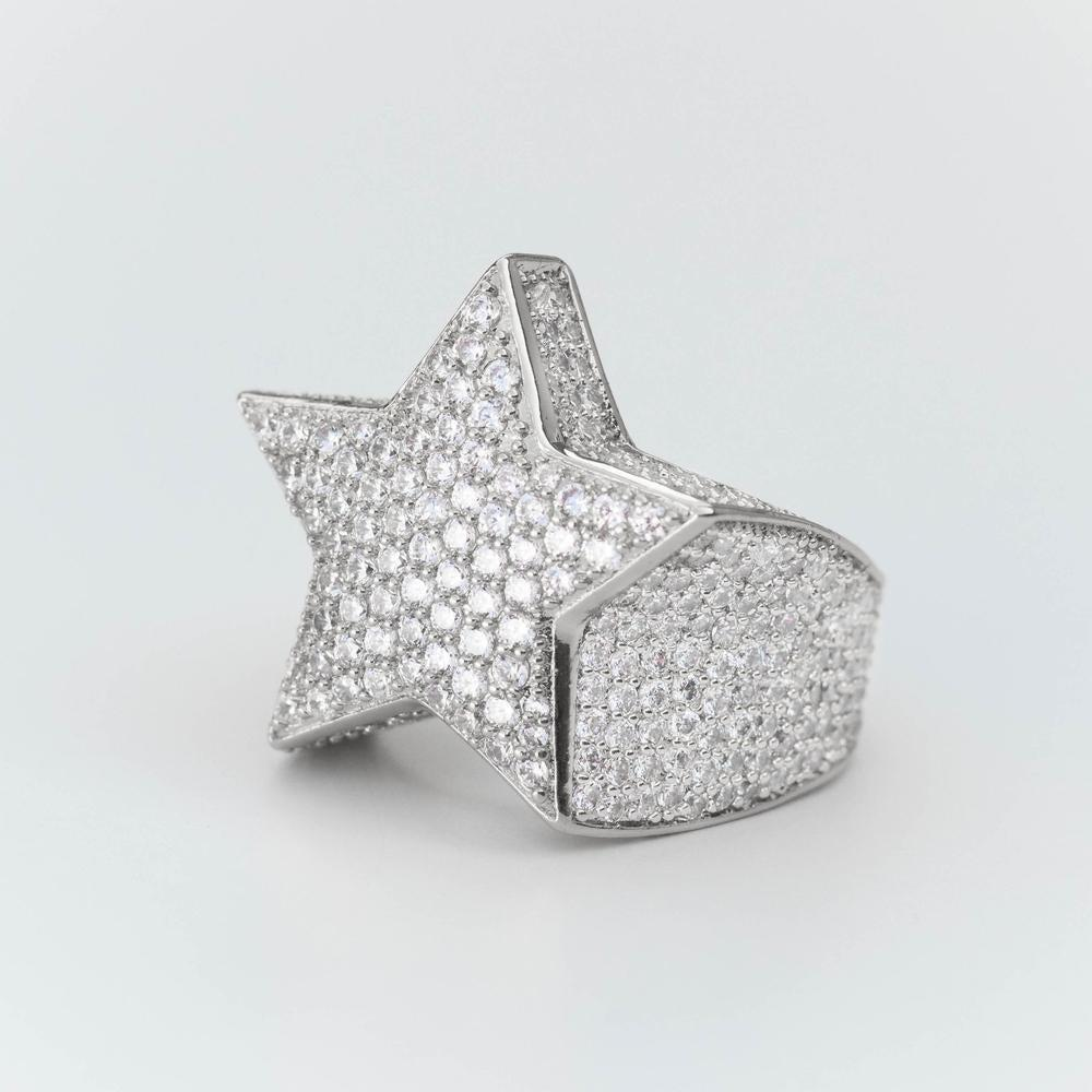 Premium Sterling Silver Fully Iced Star Ring - (2 Color Options)