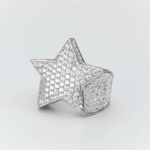 Premium Sterling Silver Fully Iced Star Ring - (Gold/White Gold)