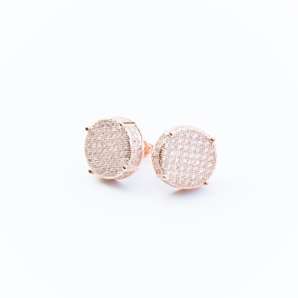 Round Iced Earring - (Gold/White Gold/Rose Gold)