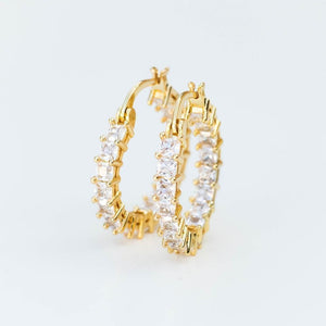 Square Cut Iced Hoop Earring - (Gold/White Gold)