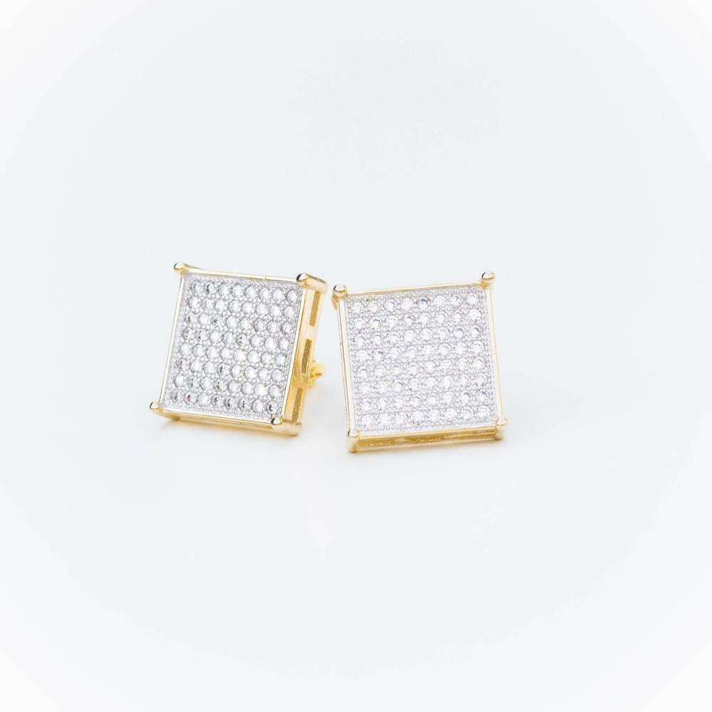 Square Iced Earring - (Gold/White Gold)