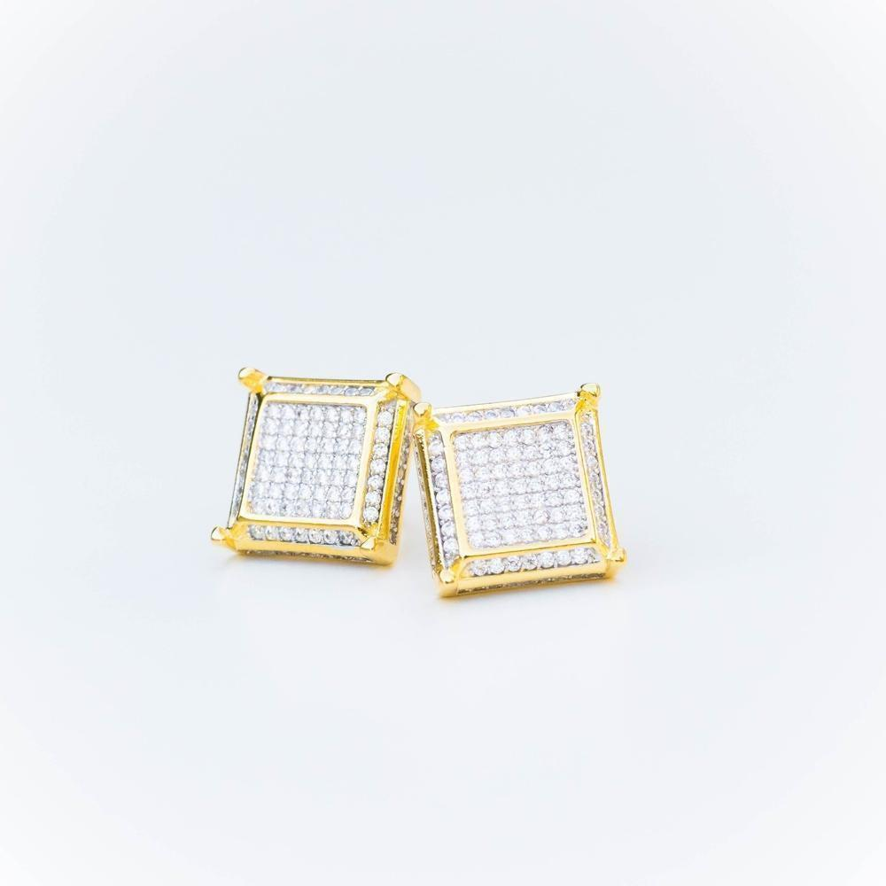Square Layered Earring - (Gold/White Gold)