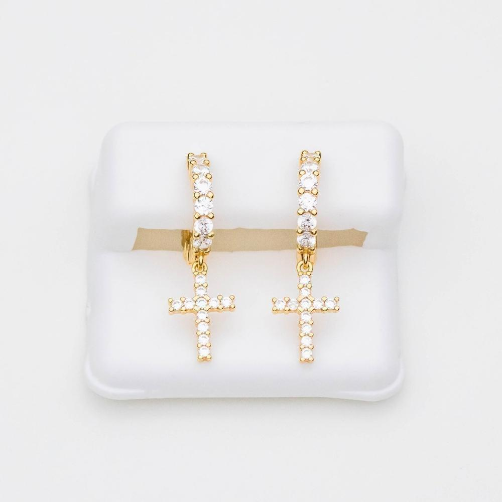 Sterling Silver Premium Iced Hoop & Cross Earring - (Gold/White Gold)