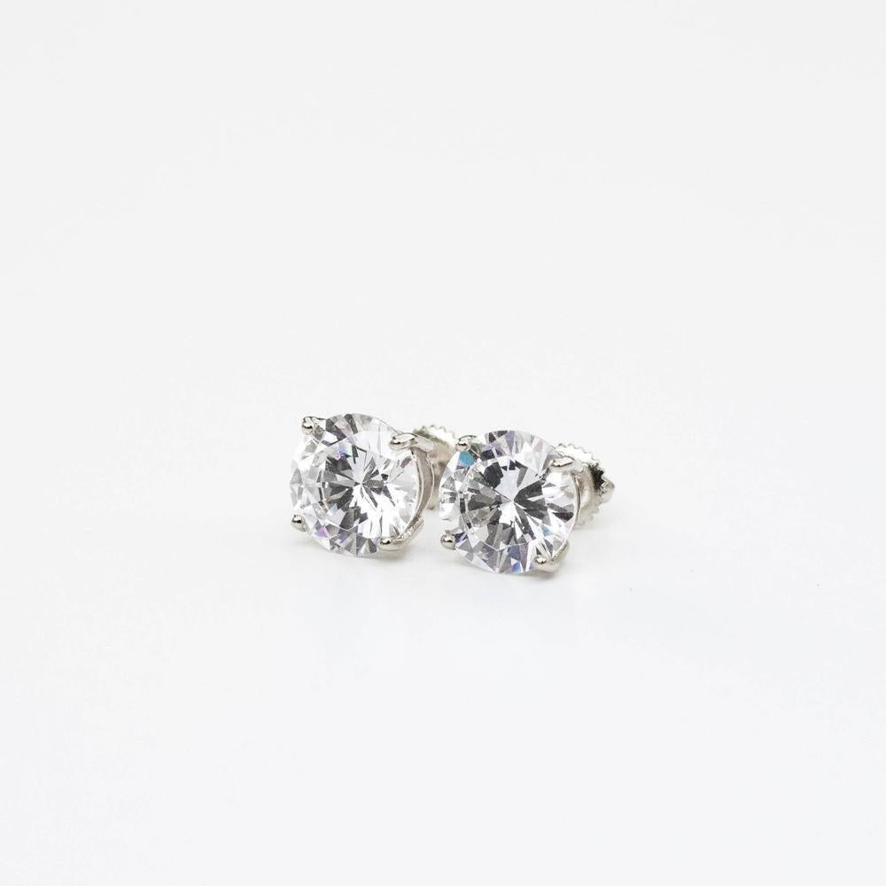 Sterling Silver Premium Round Stud Earring - (2 Color Options)