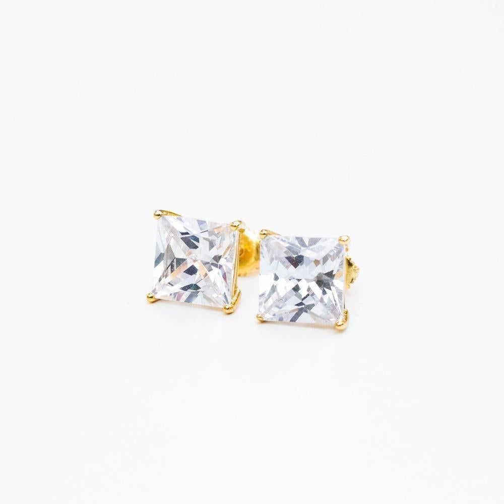 Sterling Silver Premium Square Stud Earring - (Gold/White Gold)