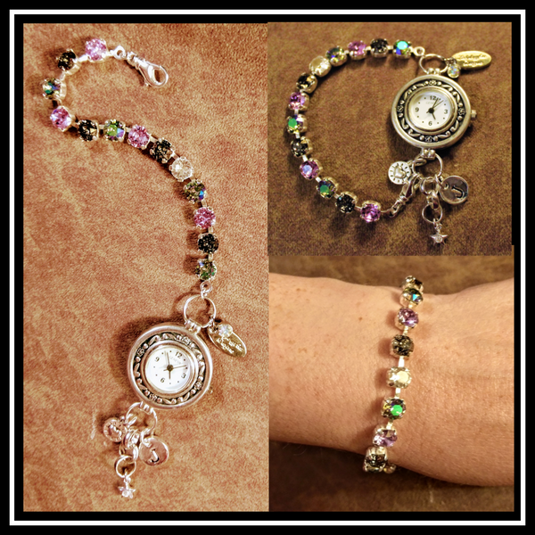 Ladybugfeet Jewelry Designs:Violet Mix Swarovski Crystal Bracelet Watch