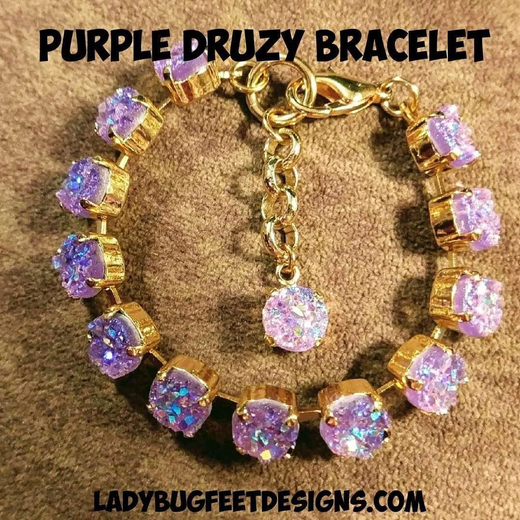Ladybugfeet Jewelry Designs:Purple Druzy Bracelet