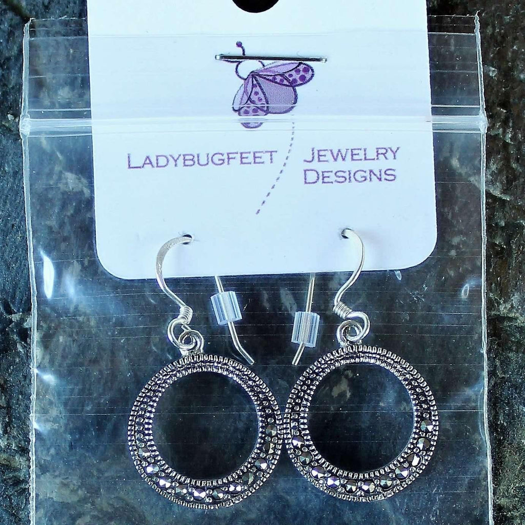Ladybugfeet Jewelry Designs:Sterling Silver Open Circle Dangle earrings