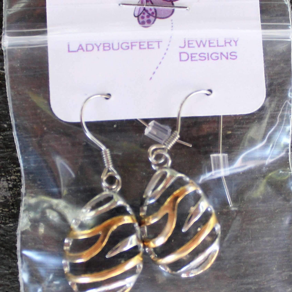 Ladybugfeet Jewelry Designs:Two Tone Wave Oval Stainless Steel Dangle earrings