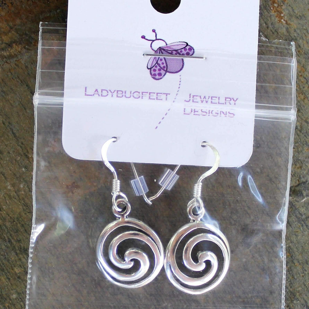 Ladybugfeet Jewelry Designs:Swirl Circle Sterling Silver Dangle earrings
