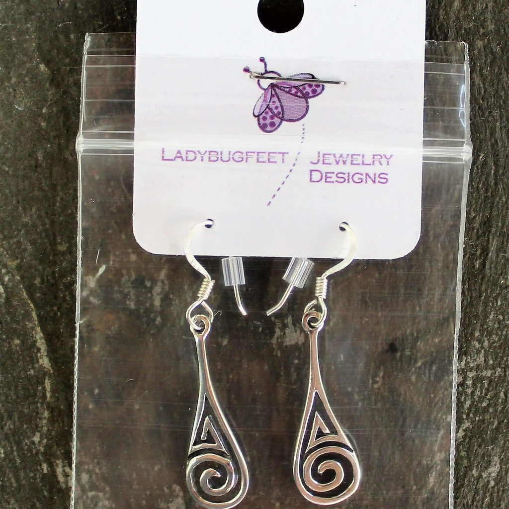 Ladybugfeet Jewelry Designs:Swirl Drop Sterling Silver Dangle earrings