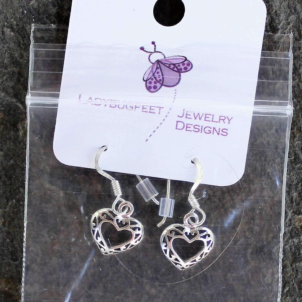 Ladybugfeet Jewelry Designs:Sterling Silver Fancy Little Heart Dangle earrings