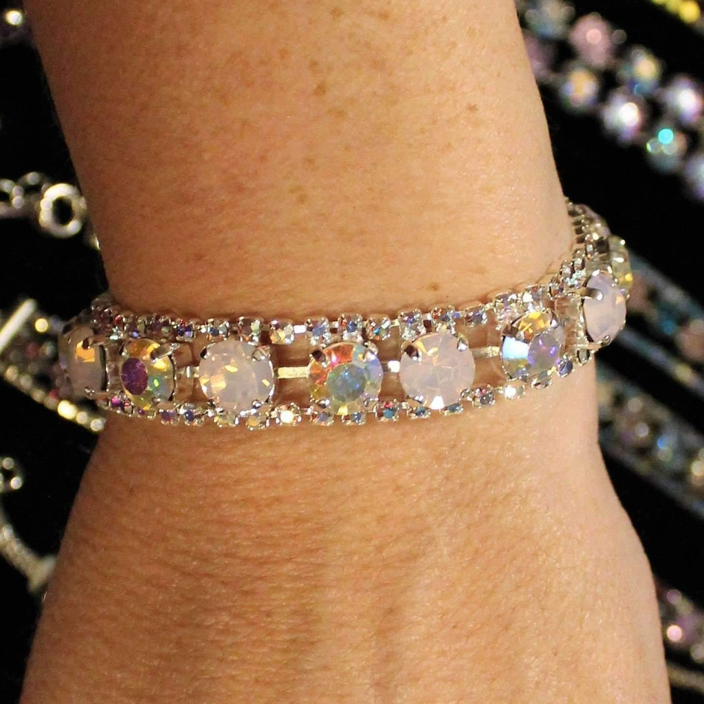 Ladybugfeet Jewelry Designs:Opal Rose Multi Colored Swarovski Crystal Rhinestone Bracelet