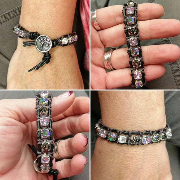 Ladybugfeet Jewelry Designs:Dragonfly Swarovski Crystal Leather Bracelet