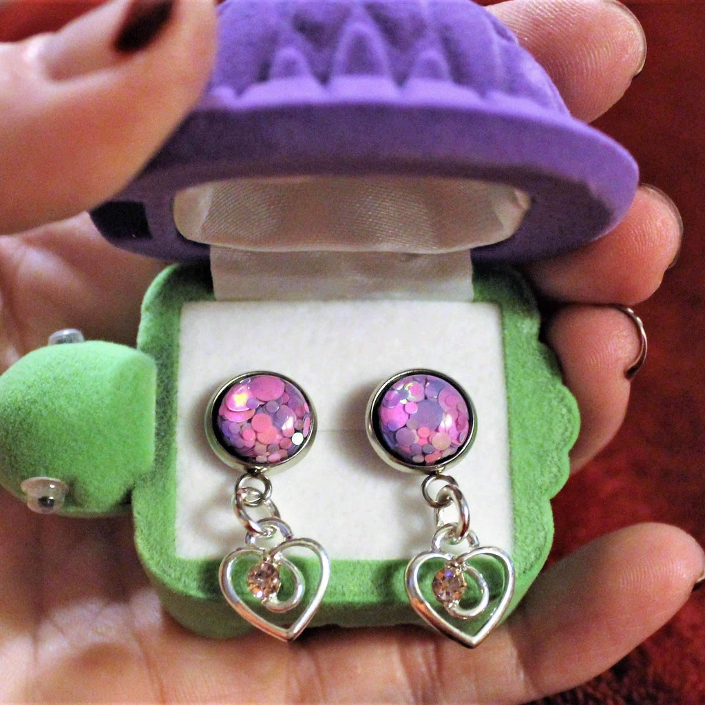 Ladybugfeet Jewelry Designs:Pink & Purple Confetti Heart Earrings