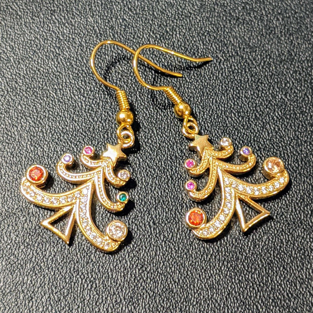 Ladybugfeet Jewelry Designs:Rhinestone Christmas Tree earrings, Holiday Sterling silver or gold hook earring, Dangle earrings,Gold