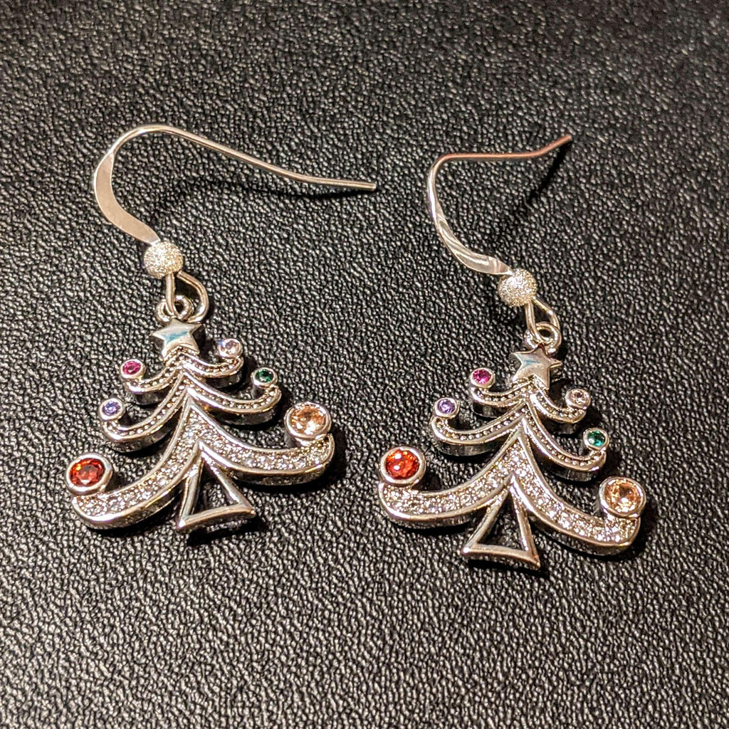 Ladybugfeet Jewelry Designs:Rhinestone Christmas Tree earrings, Holiday Sterling silver or gold hook earring, Dangle earrings,Sterling Silver