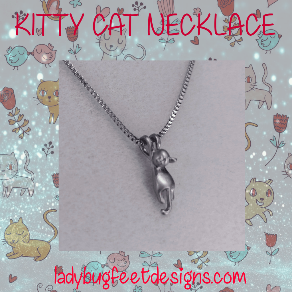 Ladybugfeet Jewelry Designs:Kitty Cat Dangle necklace, 18 inch