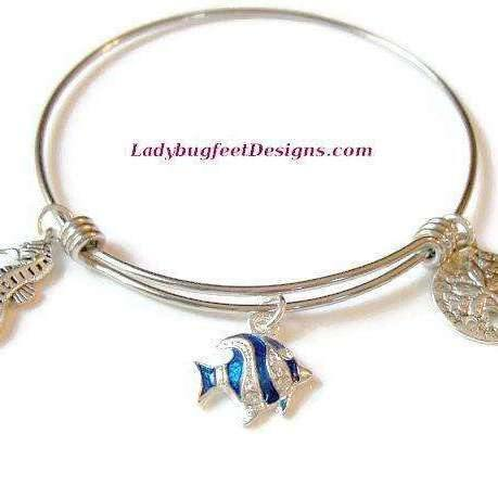 Ladybugfeet Jewelry Designs:ANGEL FISH Sand Dollar, Seahorse bracelet