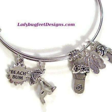 Ladybugfeet Jewelry Designs:BEACH BUM Summer Flip Flops Bangle bracelet