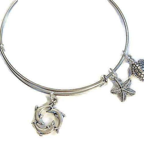 Ladybugfeet Jewelry Designs:BEACH IV Dolphin, Starfish, Turtle charm bangle