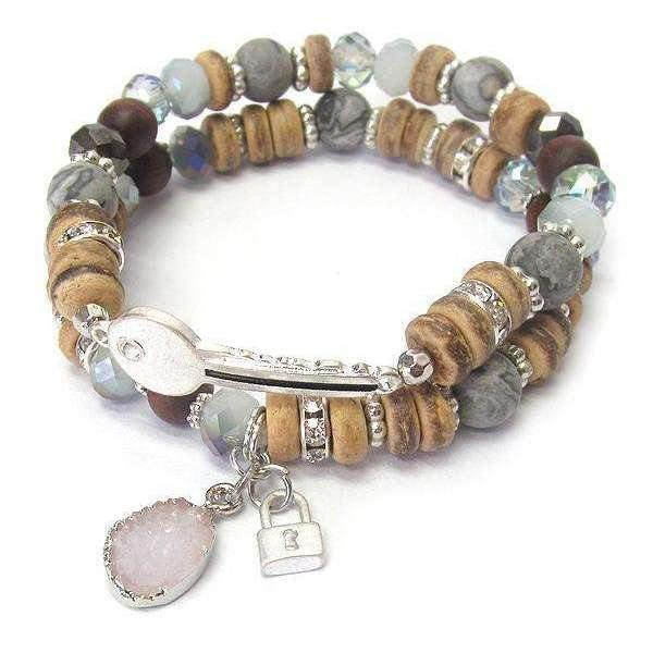 Ladybugfeet Jewelry Designs:Beaded Multi Genuine Stone Mix Key Stretch bracelet