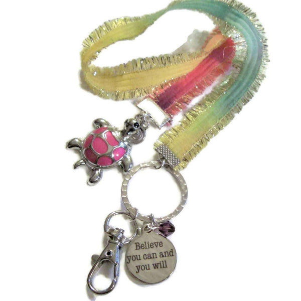 Ladybugfeet Jewelry Designs:Believe You Can and You Will! Turtle charm bookmark/Lanyard