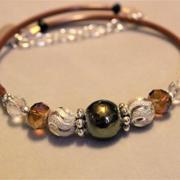 Black/Gold Beaded Crystal Memory Wire Bangle bracelet