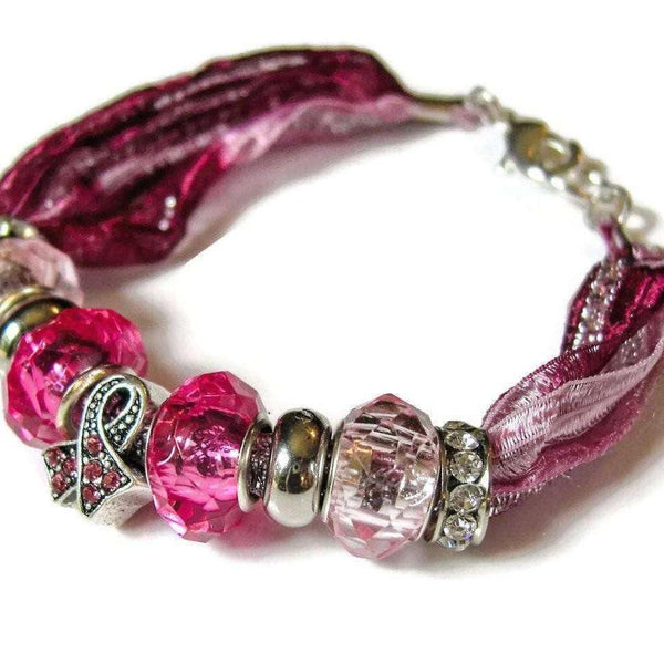 Ladybugfeet Jewelry Designs:Breast Cancer Awareness European Beaded Bracelet