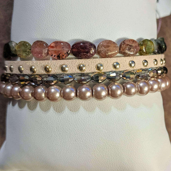 Ladybugfeet Jewelry Designs:Champagne Suede Beaded Boho Cuff Bracelet,Gift for her