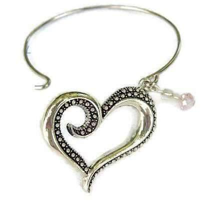 Child size, SILVER Heart BANGLE BRACELET, Fits Small Adult Wrist