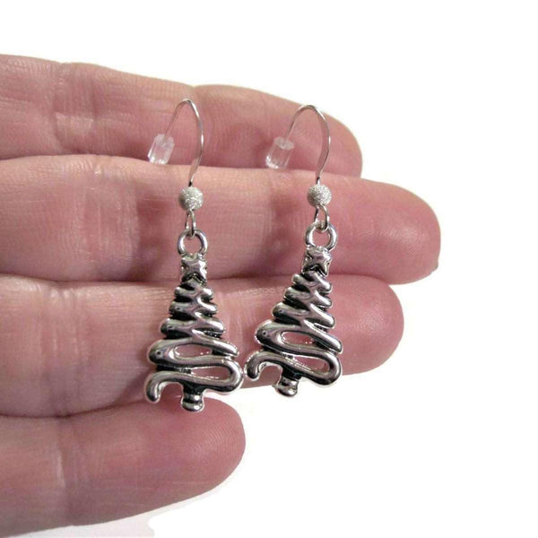 Ladybugfeet Jewelry Designs:Christmas Tree Pendant earrings, Holiday Sterling silver hook earring, Dangle earrings