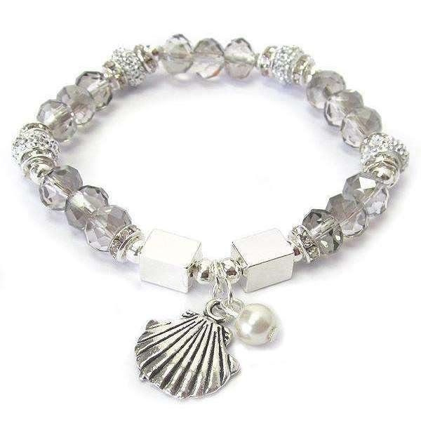 Ladybugfeet Jewelry Designs:Clam Shell Crystal Beach bracelet,  Clam Shell Stretch Bracelet