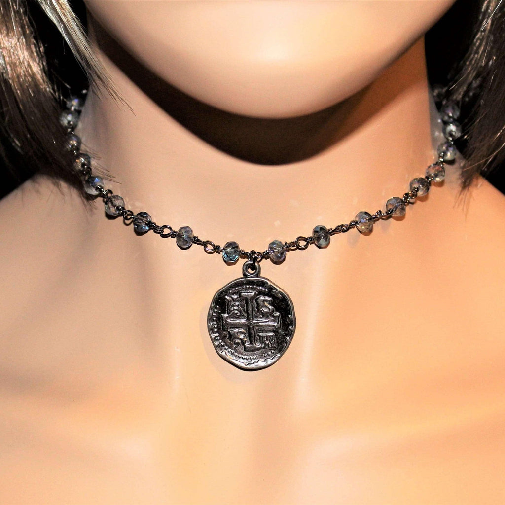 Ladybugfeet Jewelry Designs:Crystal Choker with Gunmetal Coin Relic Pendant