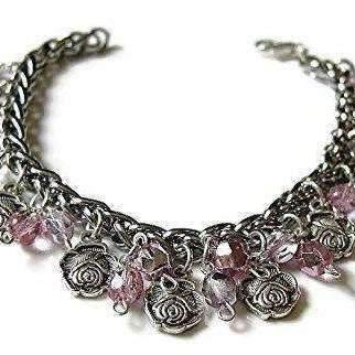 Ladybugfeet Jewelry Designs:Crystals and Roses Romantic charm bracelet, Sparkly charm bracelet